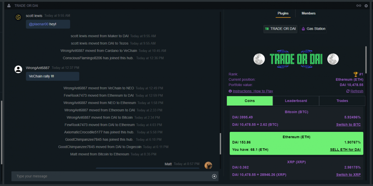 TRADE or DAI chat room on Settle